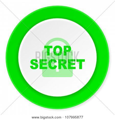 top secret green fresh circle 3d modern flat design icon on white background