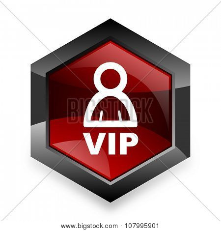 vip red hexagon 3d modern design icon on white background