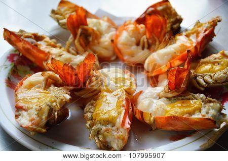 big river shrimp grilled on dish