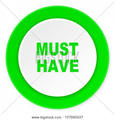 must have green fresh circle 3d modern flat design icon on white background