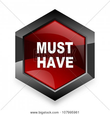 must have red hexagon 3d modern design icon on white background