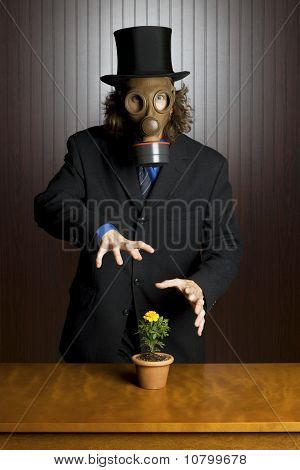 Businessman wearing a gas mask