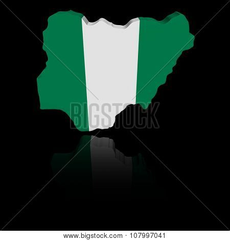 Nigeria map flag with reflection illustration