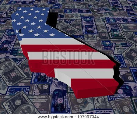 California map flag on dollars illustration