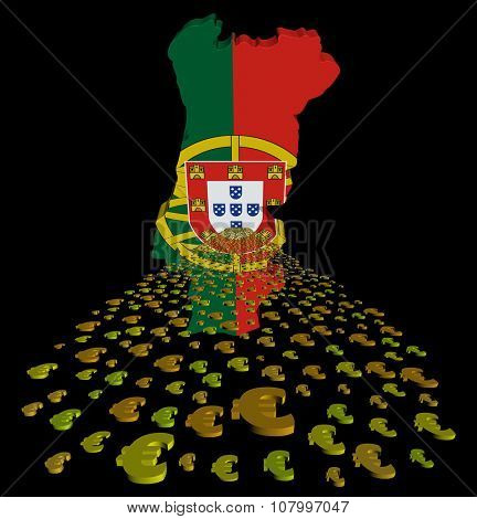 Portugal map flag with euros foreground illustration