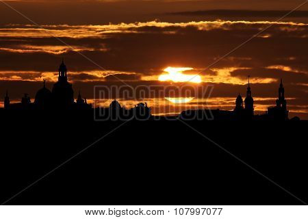 Dresden skyline at sunset illustration