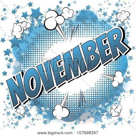 November - Comic book style word