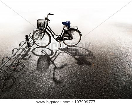 Bike Parked In Bicycle Rack
