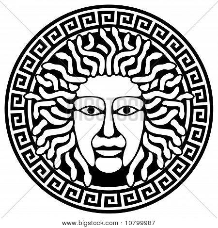 Ilustração de cabeça de Górgona Medusa com cabelos de serpente.