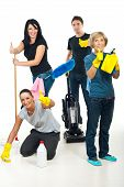 picture of cleaning service  - Successful teamwork of cleaning services workers giving thumbs up - JPG