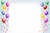 pic of happy birthday card  - multicorored birthday balloons with confetti on the white background - JPG