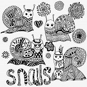 Постер, плакат: Set of hand painted snails and flowers Original cute snail funny faces Shell horns Hipster sna