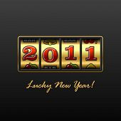 stock photo of slot-machine  - Vector illustration of a slot machine with lucky New Year - JPG