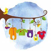 Постер, плакат: Baby born clothes hanging on the tree Watersolor sky