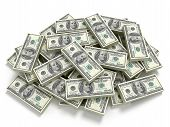 stock photo of 100 dollars dollar bill american paper money cash stack  - Big pile of the money - JPG