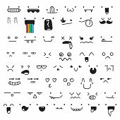 Постер, плакат: Set of 50 different pieces doddle emotions to create characters