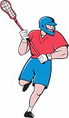 Lacrosse Player Crosse Stick Running Isolated Cartoon poster