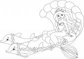 Постер, плакат: Mermaid Coloring Page