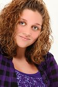 pic of 13 year old  - Beautiful 13 year old teen girl smiling over white background - JPG