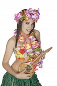 foto of hula dancer  - Caucasian woman pretending to be a Hula Dancer - JPG