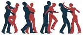 of self-defense - Set of editable vector silhouettes of self defense ...