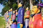 stock photo of qin dynasty  - Terracotta warriors lined up on the hill - JPG