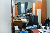 stock photo of messy  - a wide view of a messy room - JPG