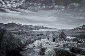 Постер, плакат: View Of Derelict Building And Coast Near Galeria In Corsica