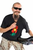 Musician Bass Player With Five String Electric Double Ball Headl poster