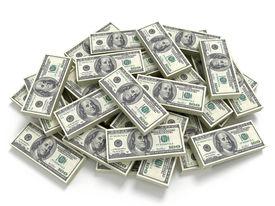 stock photo of 100 dollars dollar bill american paper money cash stack  - Big pile of the money - JPG