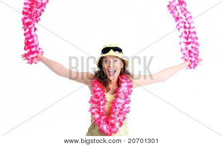 A picture of a happy woman dancing with hawaiian necklaces over white background