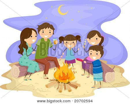 Ilustración de una familia se reunieron alrededor de una fogata