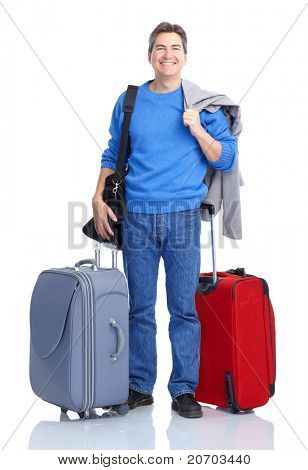 Handsome tourist man smiling. Isolated over white background