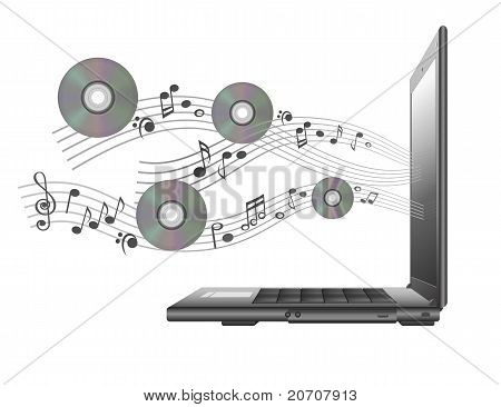 Vector laptop with notes and cd