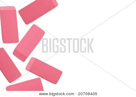 Pink Erasers On White Background