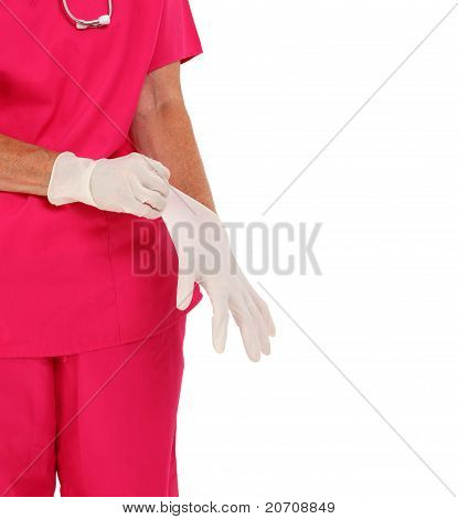 Doctor Putting On Gloves