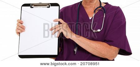 Physician Holding Clipboard