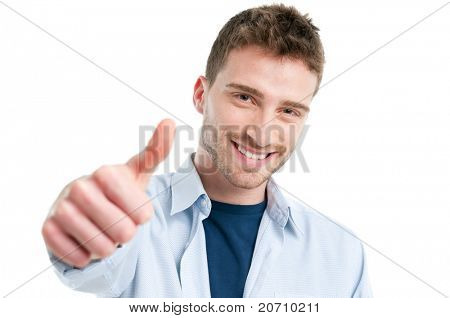 Happy smiling guy showing thumb up isolated on white background