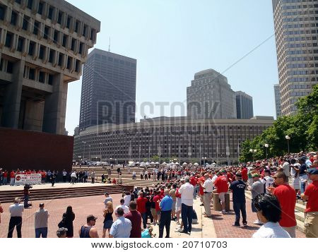 Man Makes Speech At Rally Of The Fire Fighters In The Center Of Boston