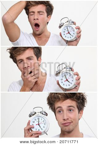 Collage of a sleeping man waking up