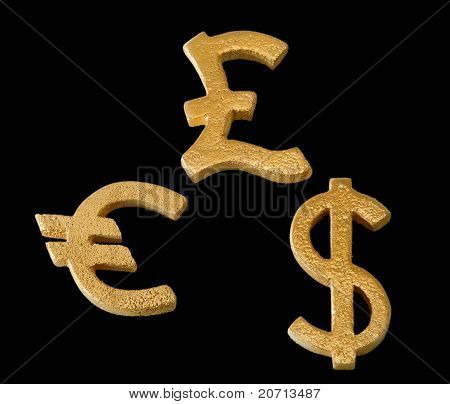 Golden Dollar, Euro And Pound Sterling Symbol