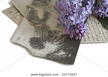 Vintage Postcards And Spray Of Lilac