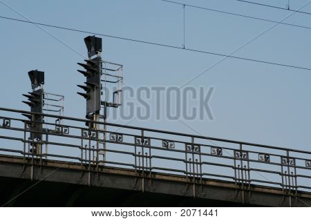 Rail Bridge With Traffic Signals