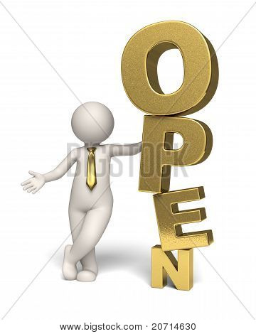 Gold Open Text Icon - 3D Business Man
