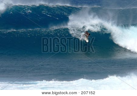 Teenage Surfer On A Big Wave