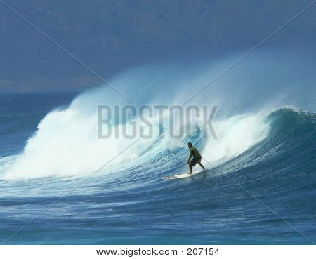 Surfer In Heavy Swells And High Wind