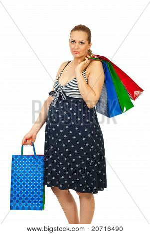 Beauty Pregnant Woman At Shopping