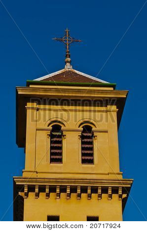 Church Tower Against A Blue Sky