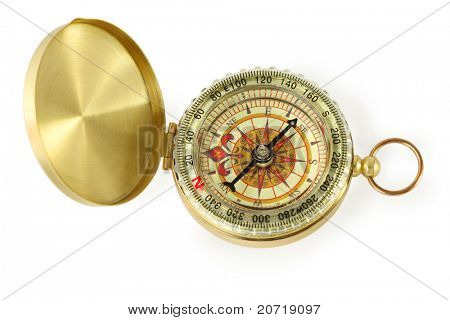 beautiful golden compass with black needle isolated on white