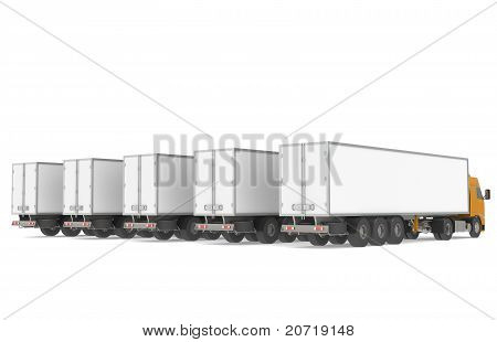 Fleet Of Trucks. Part Of Warehouse And Logistics Series